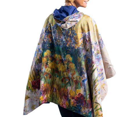 FINE ART RAINCAPER - TIFFANY PEONIES & IRIS TRAVEL CAPE
