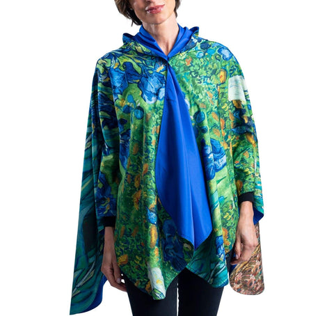 FINE ART RAINCAPER - VAN GOGH IRISES TRAVEL CAPE