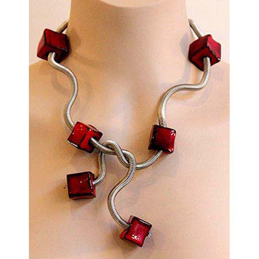 Sandrine Giraud  Boa Cube red necklace