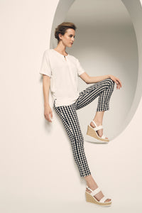 LISETTE L GINGHAM PANT 508764 - BLACK/WHITE