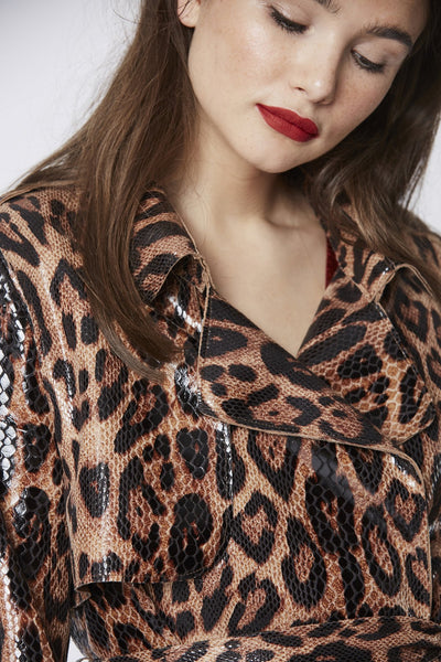 LEOPARD PRINT SNAKE EFFECT TRENCH COAT SUACT45A -