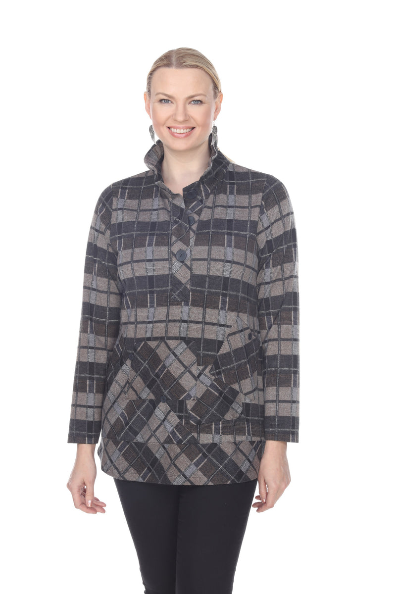 TERRA BLACK GREY BUTTON DOWN TUNIC TOP T5217 - Coming Soon - Special Order