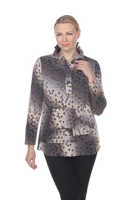 TERRA MULTI GREY BUTTON DOWN TUNIC TOP T5225 - Coming Soon - Special Order