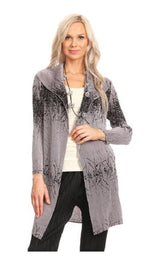 VANITE COUTURE PLEATED PRINTED OPEN CARDIGAN JACKET 81024