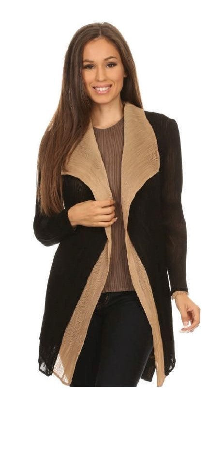 VANITE COUTURE PLEATED REVERSIBLE OPEN CARDIGAN 81004-1