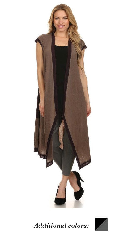 VANITE COUTURE PLEATED LONG FLARED VEST 81109