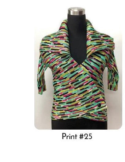 VANITE COUTURE PLEATED SHINY WRAP TOP BBT-17 - PRINT 25