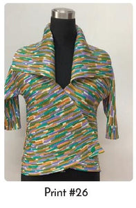 VANITE COUTURE PLEATED SHINY WRAP TOP BBT-17 - PRINT 26