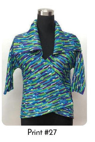 VANITE COUTURE PLEATED SHINY WRAP TOP BBT-17 - PRINT 27