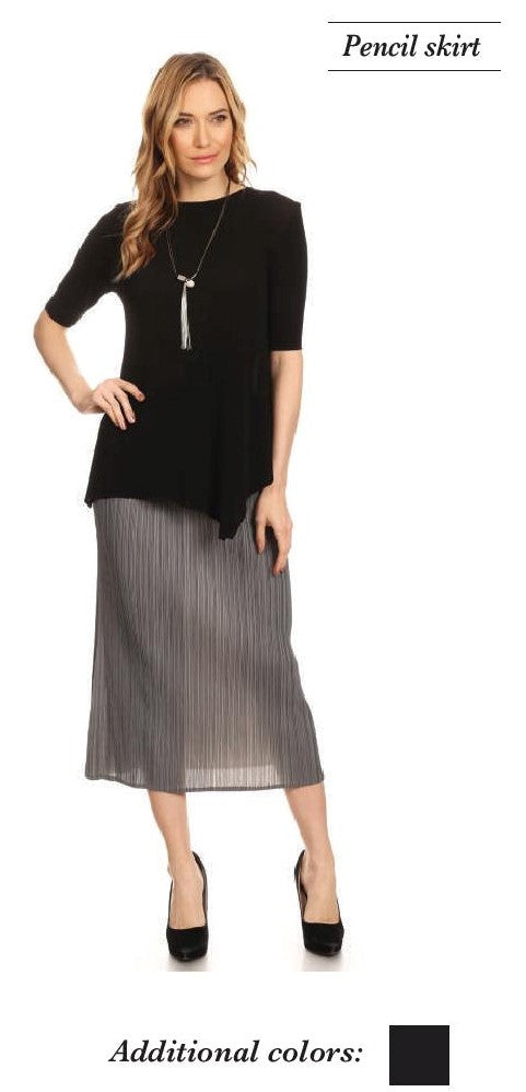 VANITE COUTURE PLEATED PENCIL SKIRT 83083