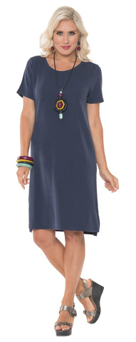 ALISHA D TRAVEL WEAR NAVY SHORT DRESS AD07 INDIGO