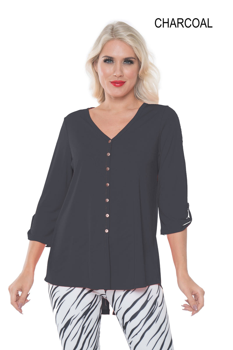 ALISHA D TRAVEL WEAR V NECK BUTTON DOWN TUNIC ADT``14