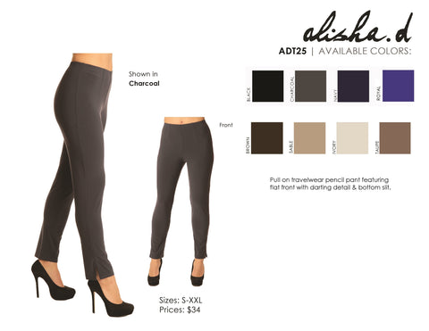 ALISHA D PENCIL TRAVEL COMFORT PANT ADT25
