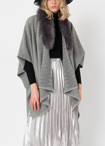 PIA ROSSINI GREY FAUX FUR COLLAR ANIKA WRAP