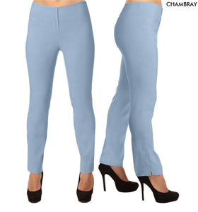 Lior Lize Light Blue Long Pull Up Stretch Pant - Chambray