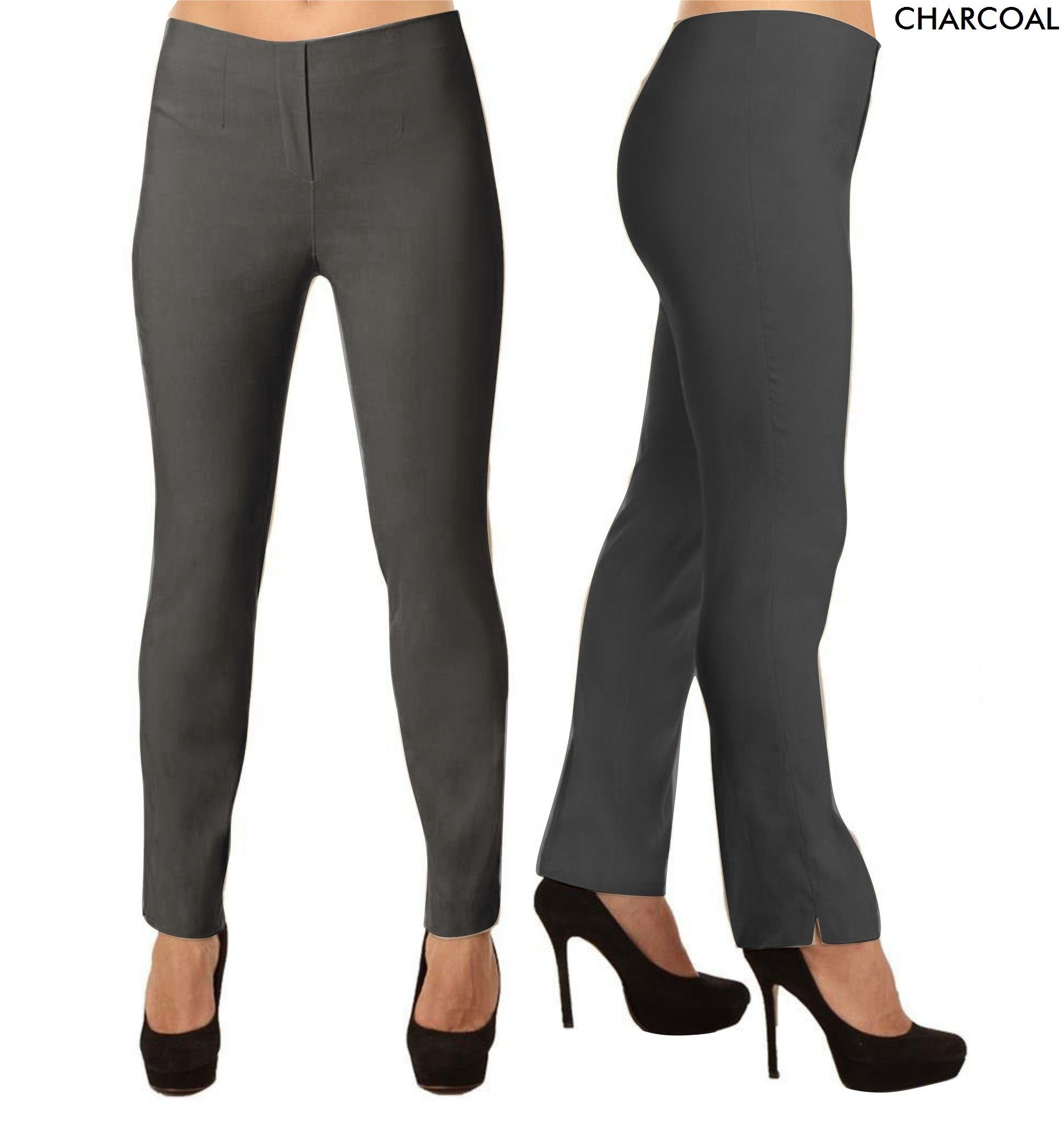 Lior Lize Gray Long Pull Up Stretch Pant - Charcoal