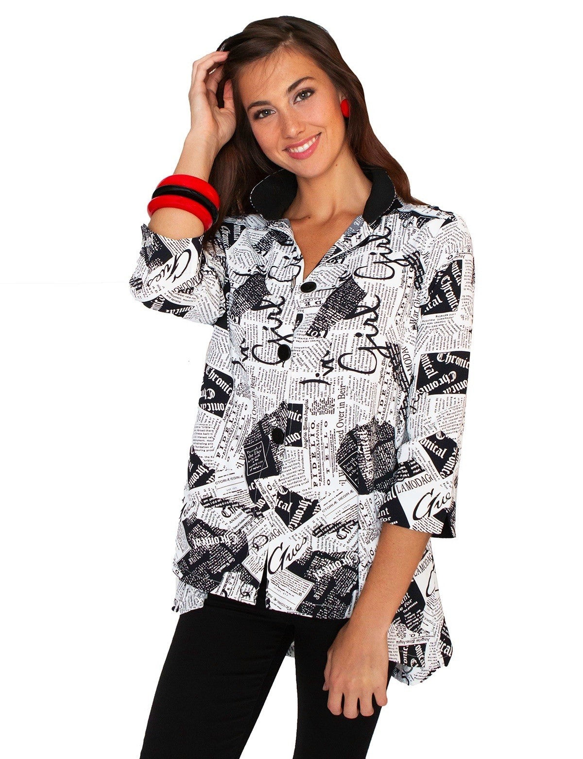 LIOR BUTTON DOWN TUNIC SHIRT DORA-46