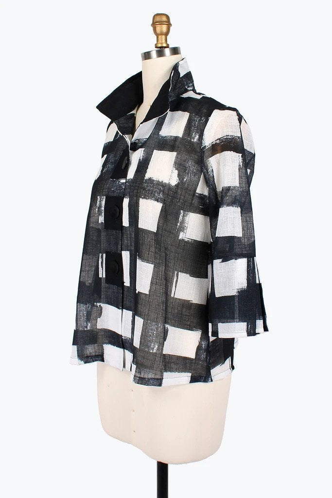 DAMEE NYC CHECKERED PAINT BUTTON PATCH SHORT JACKET 4621-BLK