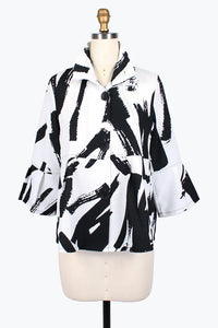 DAMEE NYC ABSTRACT BRUSH STROKE SHORT JACKET 4620-WHT