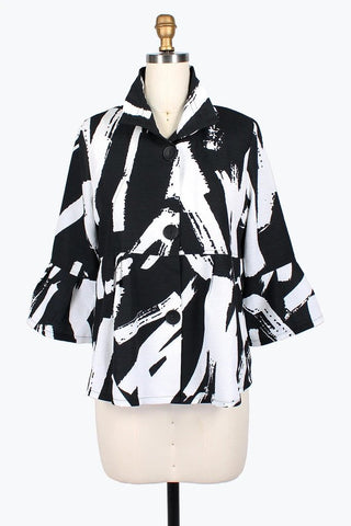 DAMEE NYC ABSTRACT BRUSH STROKE SHORT JACKET 4620-BLK