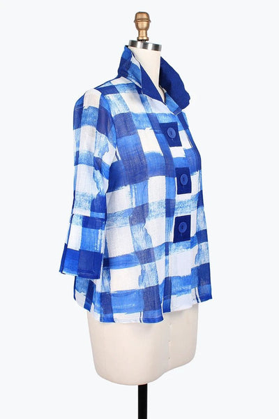 DAMEE NYC CHECKERED PAINT BUTTON PATCH SHORT JACKET 4621-BLU