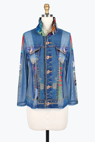 DAMEE NYC ABSTRACT WATERCOLOR DENIM MESH TWIN SET JACKET 31393-DNM
