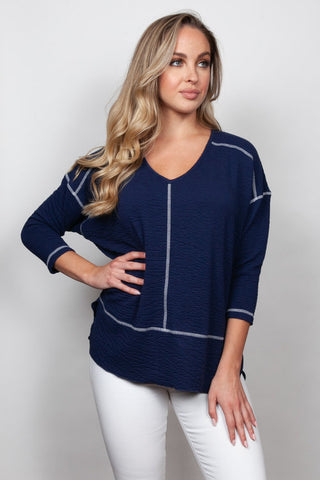SNO SKINS SEERSUCKER KNIT BOYFRIEND TOP 55466-20-NAVY WHITE