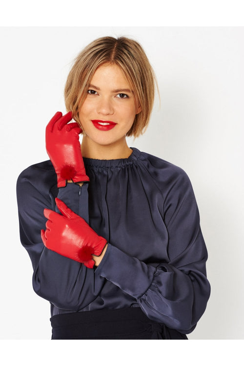 Jayley Leather Gloves with Mink Bobble- CHERRY RED