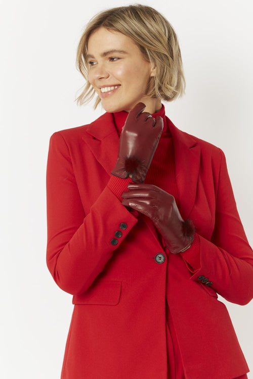 Jayley Leather Gloves with Mink Bobble- BERRY