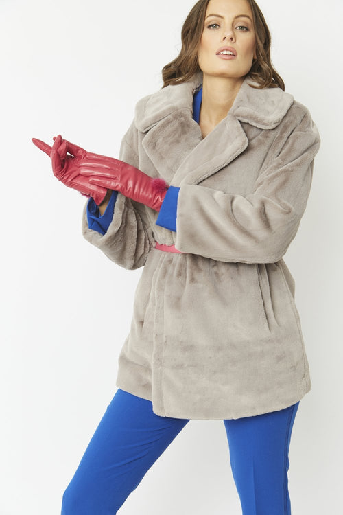 Jayley Leather Gloves with Mink Bobble- CERISE PINK