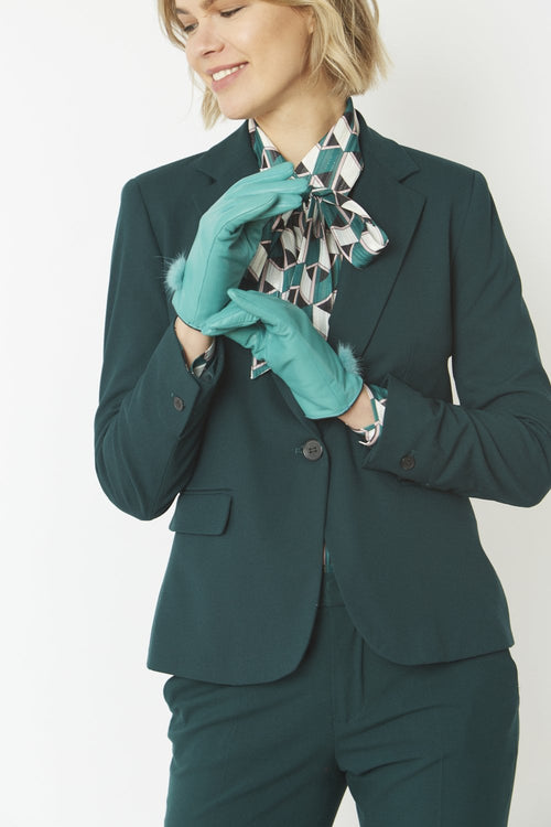 Jayley Leather Gloves with Mink Bobble- TURQUOISE