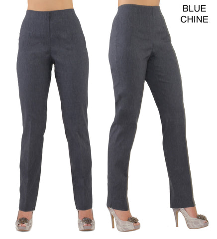 Lior Lize Blue Long Pull Up Stretch Pant - Blue Chine