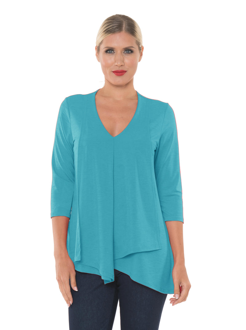 ALISHA D TRAVEL WEAR V NECK LAYERED TUNIC TOP ADT336