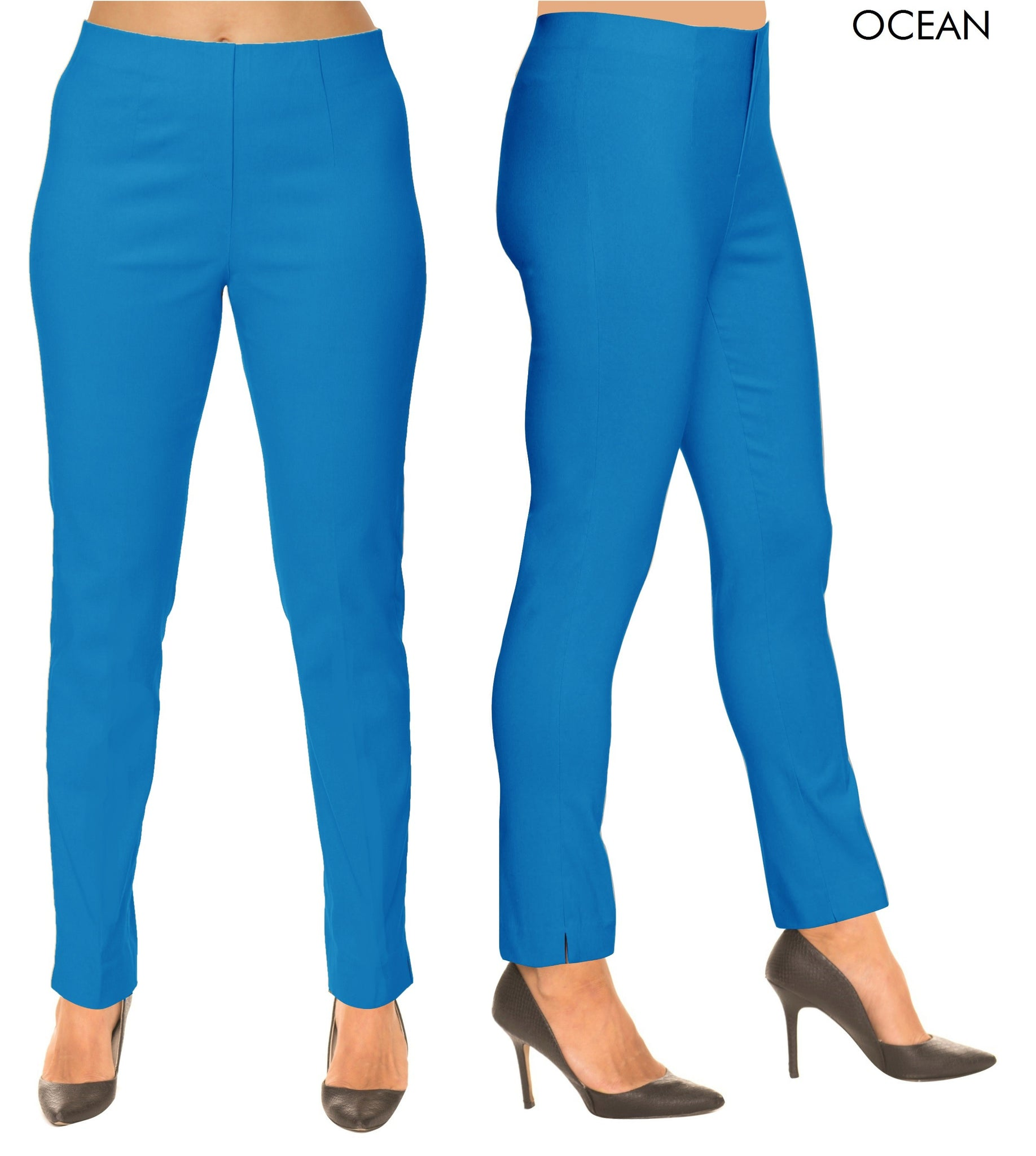 Lior Sasha Blue Pull Up Stretch Pant - Ocean