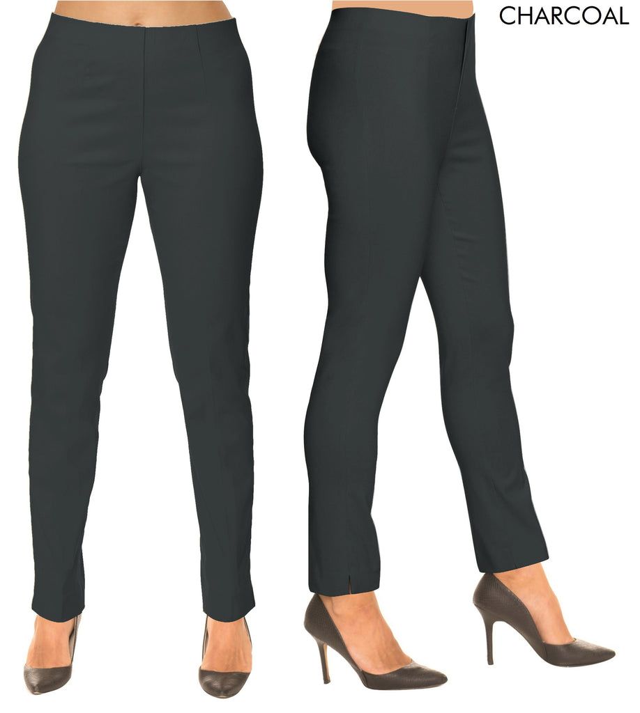 Lior Sasha Grey Pull Up Stretch Pant - Charcoal