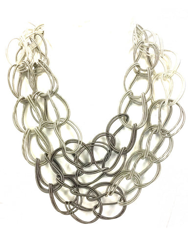 SANDRINE GIRAUD SGP 3 LINKS GREY WHITE NECKLACE