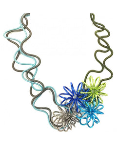 SANDRINE GIRAUD BOUQUET BLUE GREEN NECKLACE