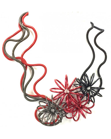 SANDRINE GIRAUD BOUQUET RED GREY NECKLACE