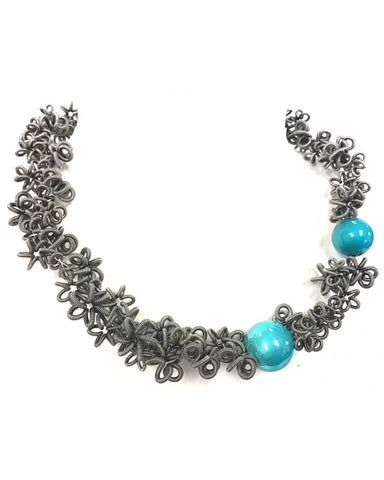 Sandrine Giraud Celeste grey aqua necklace