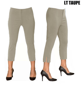 Lior Sidney Taupe Pull Up Stretch Cropped Pant