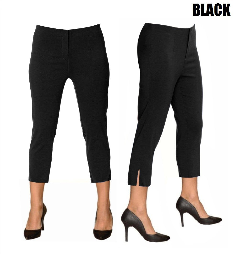 Lior Sidney Black Pull Up Stretch Cropped Pant