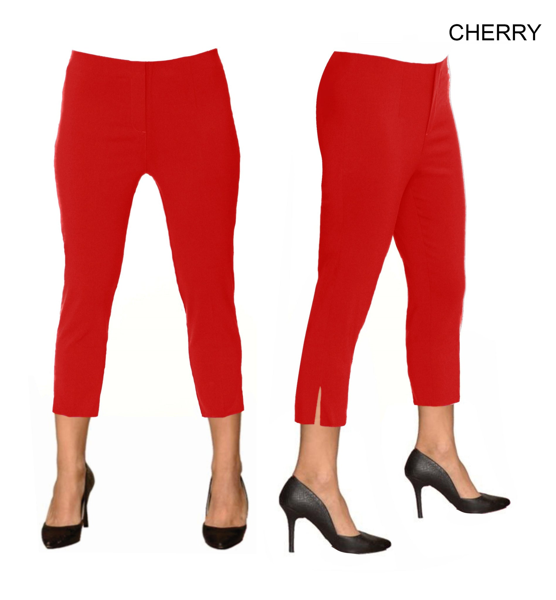 Lior Sidney Red Pull Up Stretch Cropped Pant - Cherry