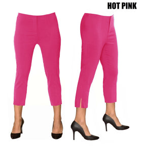 Lior Sidney Hot Pink Pull Up Stretch Cropped Pant