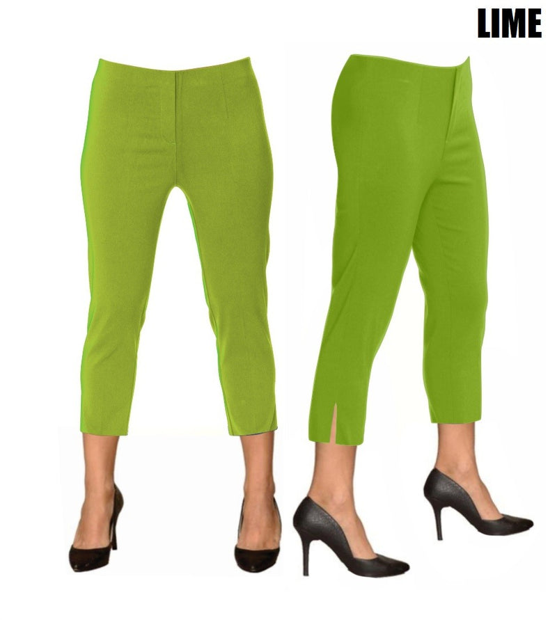 Lior Sidney Green Pull Up Stretch Cropped Pant - Lime