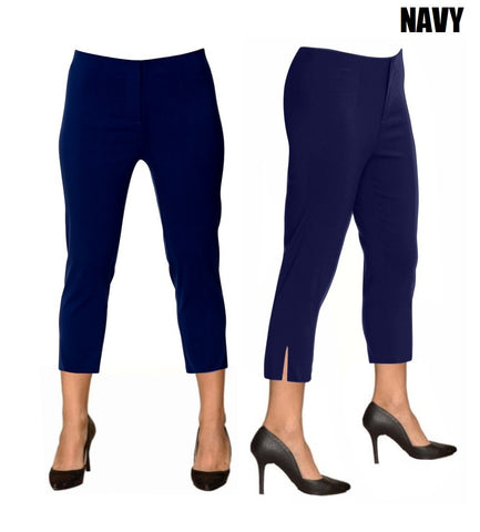 Lior Sidney Navy Pull Up Stretch Cropped Pant
