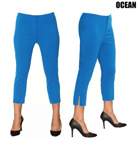 Lior Sidney Blue Pull Up Stretch Cropped Pant - Ocean