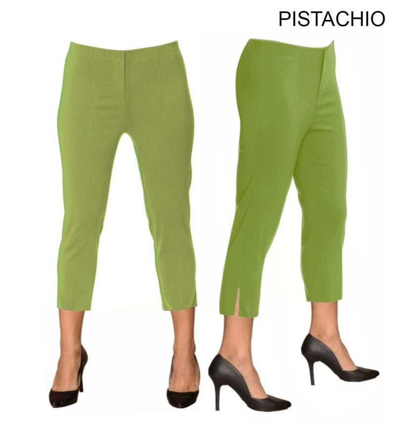 Lior Sidney Green Pull Up Stretch Cropped Pant - Pistachio