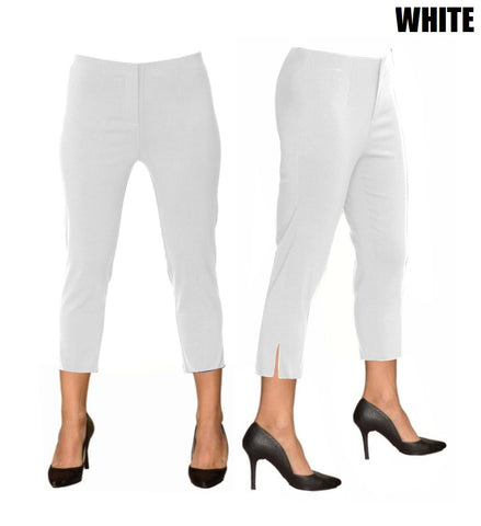 Lior Sidney White Pull Up Stretch Cropped Pant
