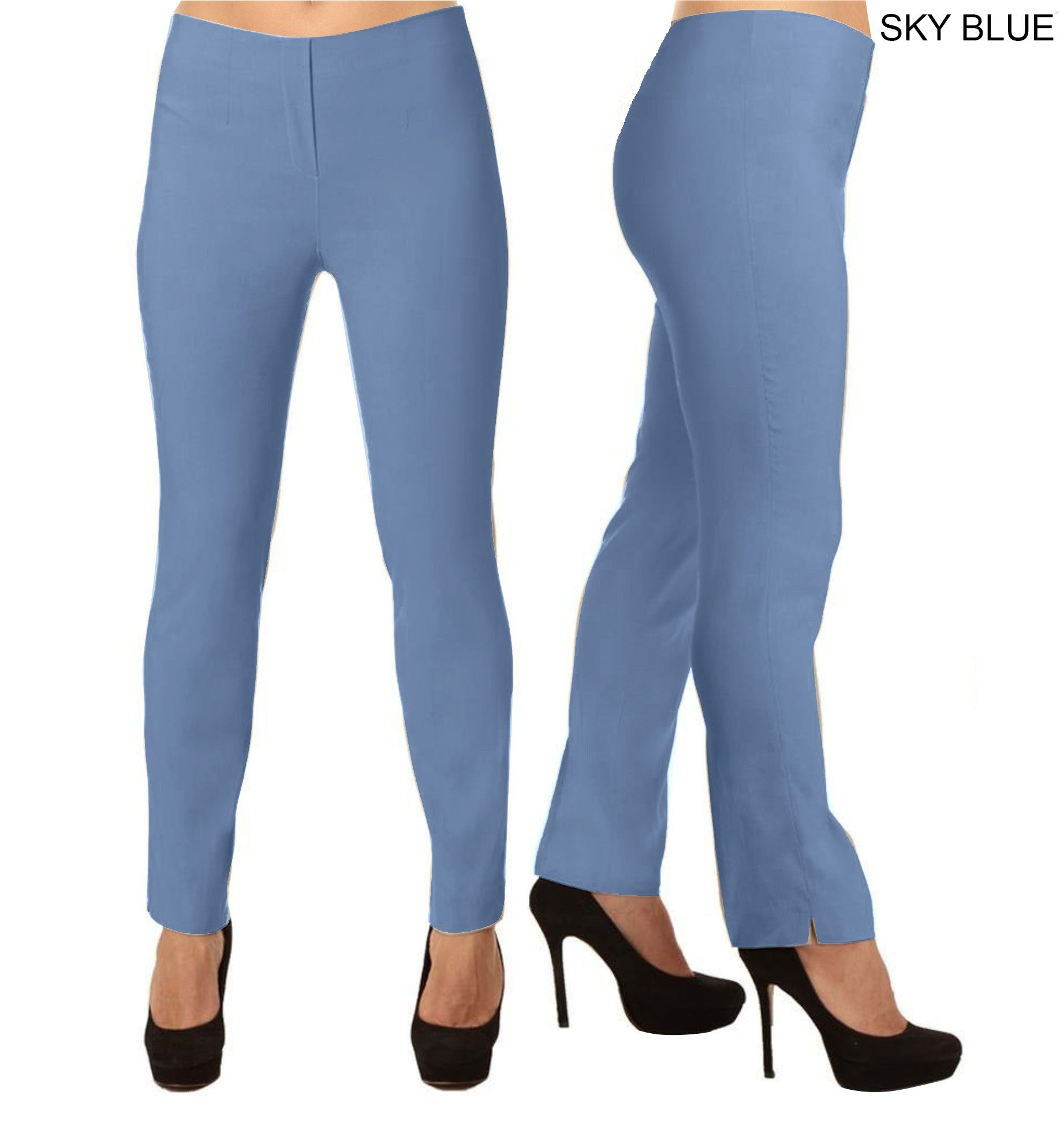 Lior Lize Light Blue Pull Up Stretch Long Pant - Sky Blue