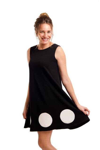 ANDRIA LIEU BLACK WHITE DOTTIE TANK DRESS - Coming soon